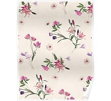Scattered Floral on Cream Poster