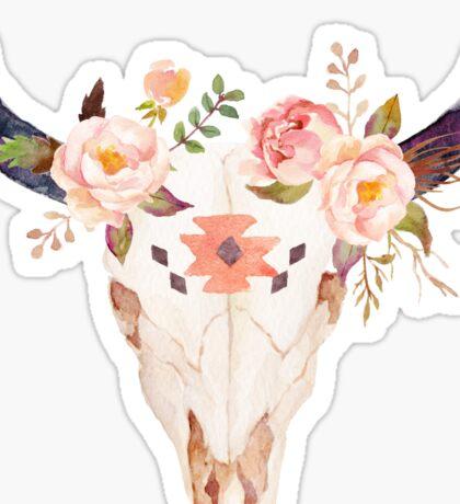 Ethnic Flowers Bull Head  Sticker