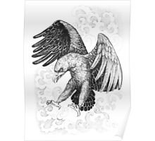 Flying, attacking eagle Poster
