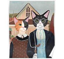 Ameowican Gothic Calico and Tuxedo Cat Poster
