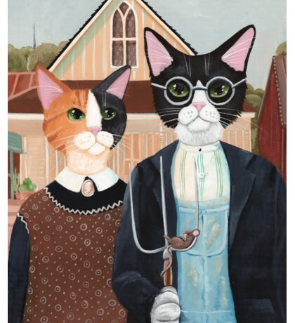 Ameowican Gothic Calico and Tuxedo Cat Sticker