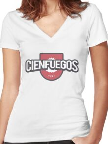 Cienfuegos Cuba Badge Women's Fitted V-Neck T-Shirt