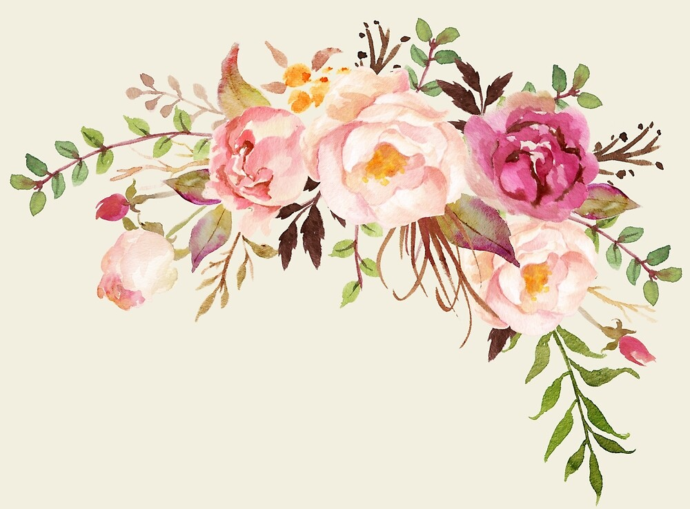 Quot Romantic Watercolor Flower Bouquet Quot By Junkydotcom