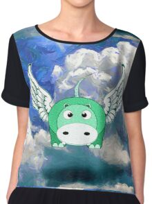 A Flying Hippo - pillow & tote, etc design Chiffon Top