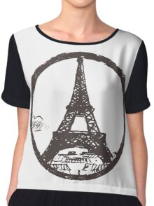 Eiffel Tower Peace Sign Chiffon Top