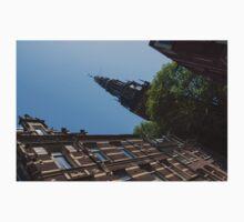 Springtime Amsterdam - High Noon Church Clock - Left Horizontal One Piece - Short Sleeve