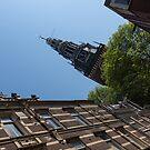 Springtime Amsterdam - High Noon Church Clock - Left Horizontal by Georgia Mizuleva
