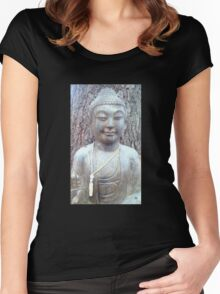 stone buddha statue Women's Fitted Scoop T-Shirt