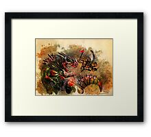 Manstodon versus the Swamp Tyrant Framed Print