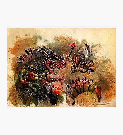 Manstodon versus the Swamp Tyrant Photographic Print