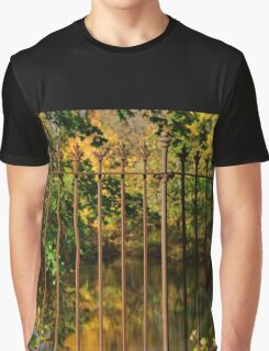 Autumn Reflections Through the Fence Graphic T-Shirt