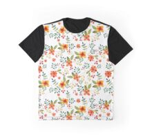 Watercolor Flowers Peach Orange Graphic T-Shirt