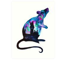 Double Exposure Harry Potter Rat Hogwarts Silhoutette Art Print