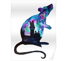 Double Exposure Harry Potter Rat Hogwarts Silhoutette Poster