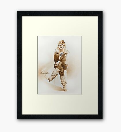 """Rocker Girl"" Painting in Oils Framed Print"