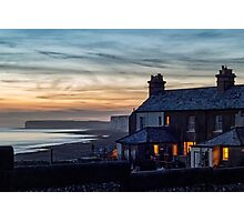 Birling Gap, East Sussex, UK Sunset Photographic Print