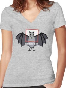 DON'T BLAME THE OLD BAT Women's Fitted V-Neck T-Shirt