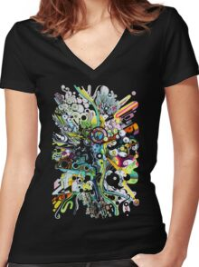 Tubes of Wonder - Abstract Watercolor + Pen Illustration Women's Fitted V-Neck T-Shirt