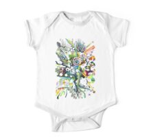 Tubes of Wonder - Abstract Watercolor + Pen Illustration One Piece - Short Sleeve