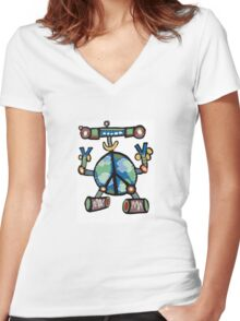 Peacebot Women's Fitted V-Neck T-Shirt