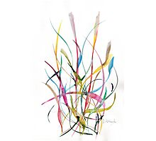 Unknown Flower 2 - Small Abstract Landscape,  watercolor, ink & pencil on paper Photographic Print