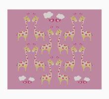 Cute Pink Giraffes Pattern One Piece - Short Sleeve