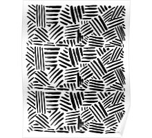 All Black - Crosshatch pattern Poster