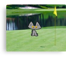 Cat  Playing Golf On The 18 Hole Canvas Print