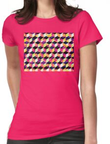 Geometric Cubes Pop Art Womens Fitted T-Shirt