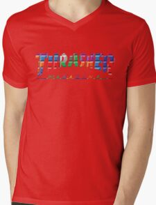 thrasher color block logo Mens V-Neck T-Shirt