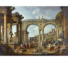 Vintage famous art - Giovanni Paolo Panini - A Capriccio Of Roman Ruins With The Arch Of Constantine Photographic Print