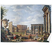 Vintage famous art - Giovanni Paolo Panini - A Capriccio View Of Rome With The Colosseum Poster