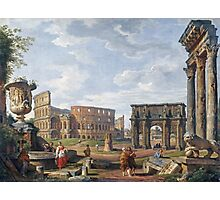 Vintage famous art - Giovanni Paolo Panini - A Capriccio View Of Rome With The Colosseum Photographic Print