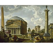 Vintage famous art - Giovanni Paolo Panini - Fantasy View With The Pantheon And Other Monuments Of Ancient Rome Photographic Print