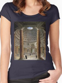 Vintage famous art - Giovanni Paolo Panini - The Interior Of The Pantheon, Rome Women's Fitted Scoop T-Shirt