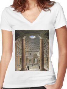 Vintage famous art - Giovanni Paolo Panini - The Interior Of The Pantheon, Rome Women's Fitted V-Neck T-Shirt