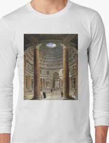 Vintage famous art - Giovanni Paolo Panini - The Interior Of The Pantheon, Rome Long Sleeve T-Shirt