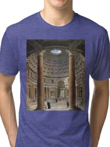 Vintage famous art - Giovanni Paolo Panini - The Interior Of The Pantheon, Rome Tri-blend T-Shirt