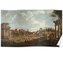 Vintage famous art - Giovanni Paolo Panini - View Of Rome Poster