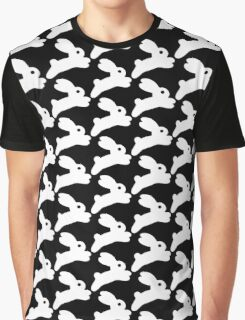 Jumping White Bunny Graphic T-Shirt