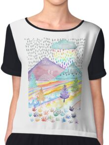 Watercolour Landscape Chiffon Top