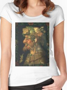 Vintage famous art - Giuseppe Arcimboldi - Autumn, From A Series Depicting The Four Seasons  Women's Fitted Scoop T-Shirt