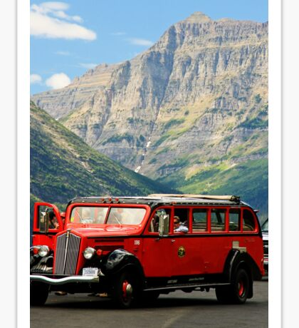 Vintage Red Bus Sticker