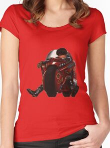 Kaneda on his bike Women's Fitted Scoop T-Shirt