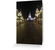 Empty Main Street at night Greeting Card