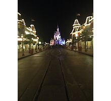 Empty Main Street at night Photographic Print