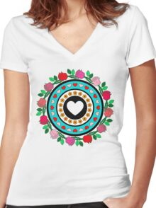 Floral Hearts!  Women's Fitted V-Neck T-Shirt
