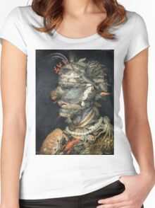Vintage famous art - Giuseppe Arcimboldi - Water Women's Fitted Scoop T-Shirt