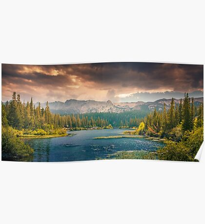 Lake by Mountain and Trees Poster