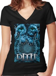 DMT - Blue Hands Women's Fitted V-Neck T-Shirt